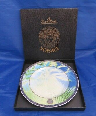 "ROSENTHAL Germany JUNGLE PATTERN Bread Plate 7-1/4"" by VERSACE with LFC Emblem"