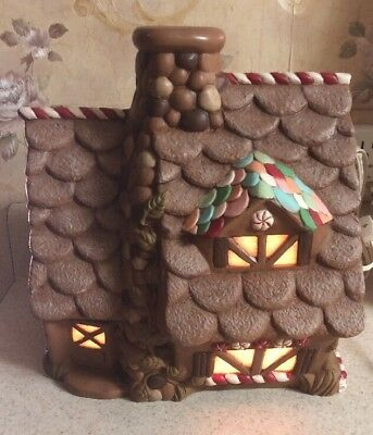"""Vintage Ceramic Gingerbread Lighted House 11"""" Tall Christmas Peppermint"""