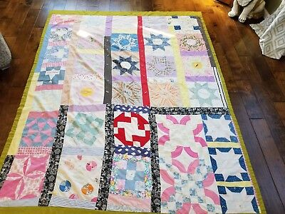 Old Quilt Feedsack Several Block Styles