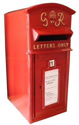 GR Post Box Postbox Letter Box - Cast Iron Royal Mail Pillar Red - Large