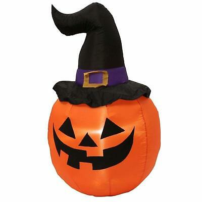 5 ft Halloween Inflatable LED Pumpkin Witch Hat Spooky Yard Decor Airblown Prop