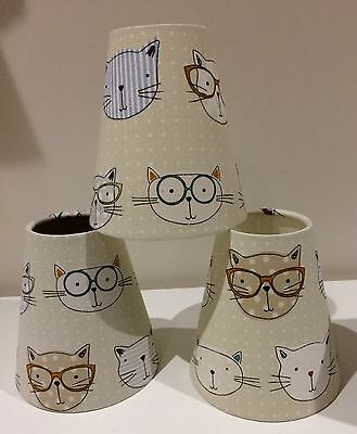 Handmade Candle-clip Lampshades for Children's Rooms/Nursery - Cute Cool Cats