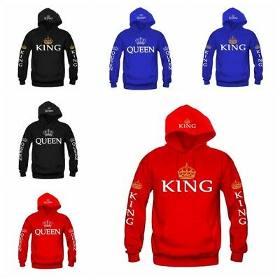 68ce03c127 King Queen For Couple Hoodie his and hers Jumper Sweater Top Sweatshirt  Pullover