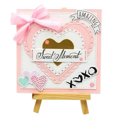 Scalloped Heart Stackable Frame Valentine's Day Metal Cutting Die DIY Paper Card