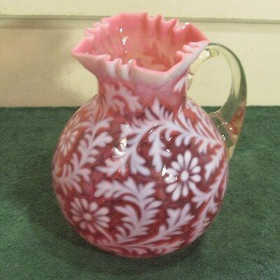 Vintage cranberry fern and daisy pitcher as is