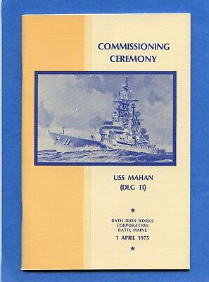 USS Mahan DLG 11 Commissioning Navy Ceremony Program