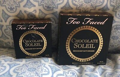 Too Faced Chocolate Soleil Bronzer Full Size 10g AND Travel Size 4g/.14 oz. NIB