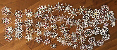 Lovely Lot of 65+ Vintage Hand Crochet Snowflake Christmas Tree Ornaments (M)