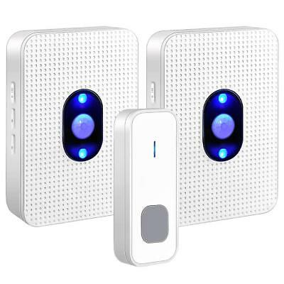 Waterproof Wireless Doorbell LED 5 Volume 1000FT Door Bell Chime Kit for Home