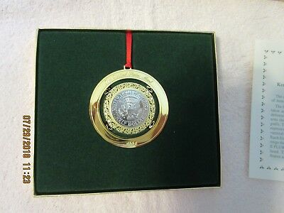 1996 US mint christmas ornament Kennedy half dollar uncirculated coin - in box