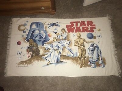 Vintage 1977 Star Wars Beach Bath Towel RD-D2 Luke Skywalker Leia, Han Darth