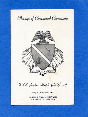 USS Josephus Daniels DLG 27 Change of Command Navy Ceremony Program #2