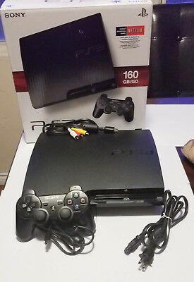 PLAYSTATION 3 160GB SLIM SYSTEM w/ 1 Controller / All Cables - PS3 CECH-3001A