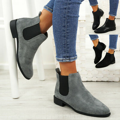 Ladies Womens Slip On Chelsea Ankle Boots Low Heel Elastic Gusset Shoes Size
