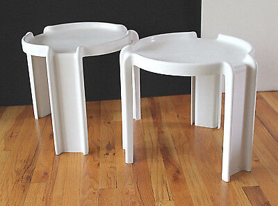 Mid Century Syroco Pair Plastic Stacking Tables Design ala Giotto Stoppino GREAT