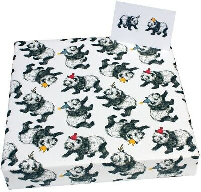 Christmas Pandas and Hats - 1 sheet / 2 tags of recycled Xmas wrapping paper