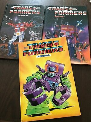 Vintage THE TRANSFORMERS Annuals Bundle 1985,1986,1988