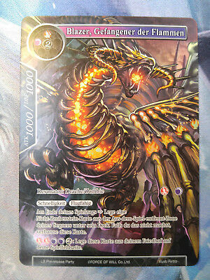 Force of Will Blazer, Gefangener der Flammen L3 Pre-release Promo Full Art deu