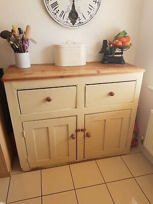 Painted Victorian Solid Pine Tall Sideboard