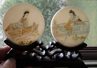OLD Chinese CURIO MINIATURE Hand Painted GUANYIN Stone DISC Carved Wood Stand!