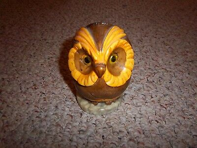 Carved Alabaster Large Colorful Owl with Glass Eyes