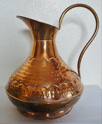 Hand Made Hammered & Etched Copper Pitcher Jug Of Villedieu (Bc7)
