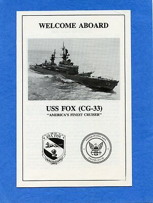 USS Fox CG 33 Welcome Aboard Navy Ceremony Program