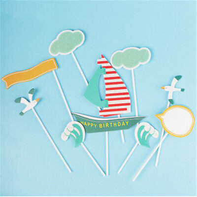 1 Set Cake Topper Seagull  Ocean Wave Cloud Happy Birthday for Children Party N7