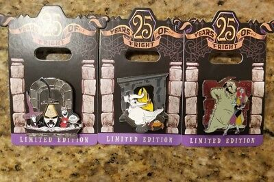 Disney Nightmare Before Christmas 25 Years Of Fright 3 Pin Set Oogie Mayor Zero