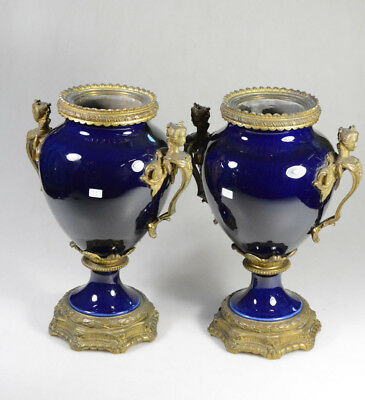 PAIR antique XL French faience blue bronze caryatid lady handles Urns Vases