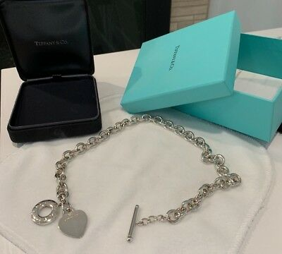 Tiffany & Co. 925 Sterling Silver Plain Heart Tag Toggle Chain Link Necklace 16""