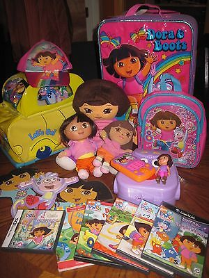 Lot of 28 Dora the Explorer DS Game Cube Gameboy Advance & NEW Suitcase Bag Doll