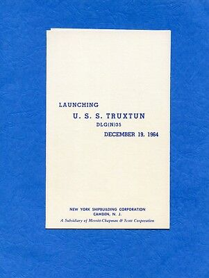 USS Truxtun DLG (N) 35 Launching Navy Ceremony Program