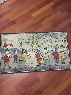 Antique Snow White And 7 Dwarfs Tapestry/Rug from 1930s.