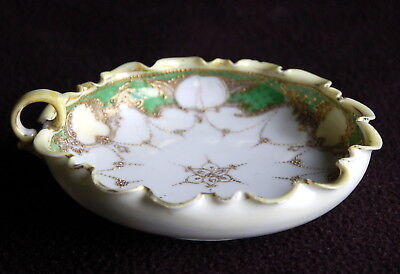 Antique 'Made in Japan' Hand-Painted NAPPY Bowl w Gold Beading, Ruffled Edge