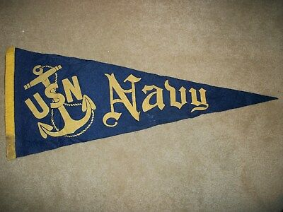 WW II U S Navy Pennant  USN With Anchor and Navy