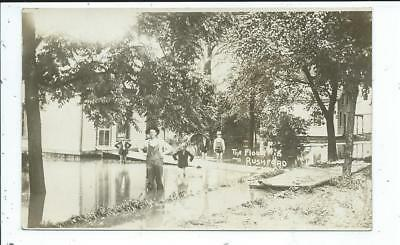 Rushford MN Minnesota RPPC Postcard Man Boys Standing in Flood Waters