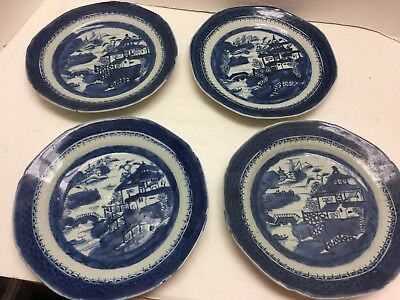 "SET 4 EARLY ANTIQUE CHINESE EXPORT CANTON PLATES 9"" DEEP BLUES collection (a)"