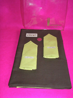 Linen Table Cloth & 4 Napkins 'dine Molnlycke Sweden Chocolate Brown/lime Green