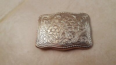 VINTAGE *FLORAL ORNAMENTAL* WESTERN BELT BUCKLE Made in USA