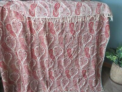 Exeptional Antique Paisley Very Large Cream Back Ground Colors Rich And Vibrant