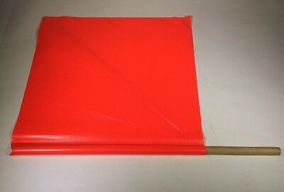 """(Box of 8) Handheld Warning Flag, Fluorescent Orange,18""""x18"""" Square, with Stay"""