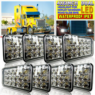 "4x6"" LED Headlights H4656/4651/4652 Replacement High/Low Beam 45W-Qty8"