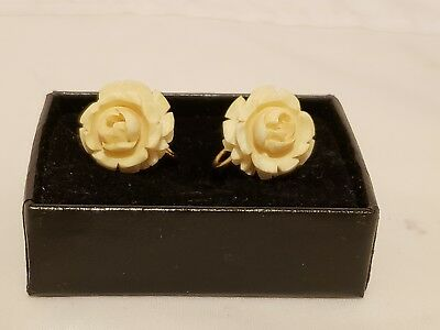 Vintage Carved Bovine Bone Rose Flower Clip-On / Screw Back Earrings