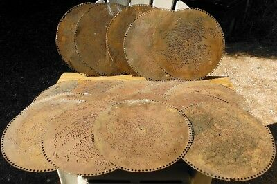 "Regina 15.5"" Music Box Discs - Lot of 18 - Copper and Steel - As/Is"