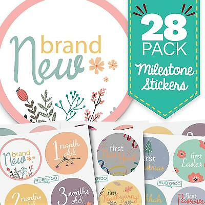 Monthly Baby Stickers - 28 First Year Milestone Sticker Pack For Girl (FLRL)
