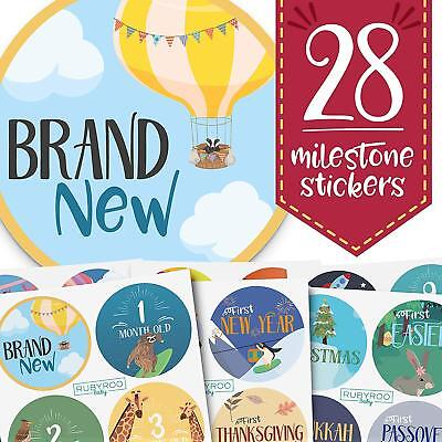 Monthly Baby Stickers - 28 First Year Milestone Sticker Pack - Boy + Girl (ADV)