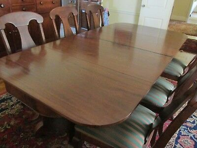 Beautiful Second Empire Walnut 2 Part Pedestal Dining Table - Seats 10