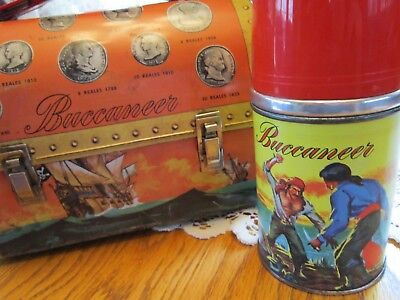 Vintage 1957  Aladdin Buccaneer Metal Dome Lunchbox with Exceptional Thermos