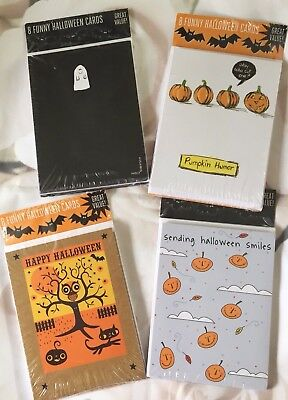 32 NEW RECYCLED PAPER HALLOWEEN GREETING CARDS~Four 8 Packs~FUNNY~FREE SHIPPING